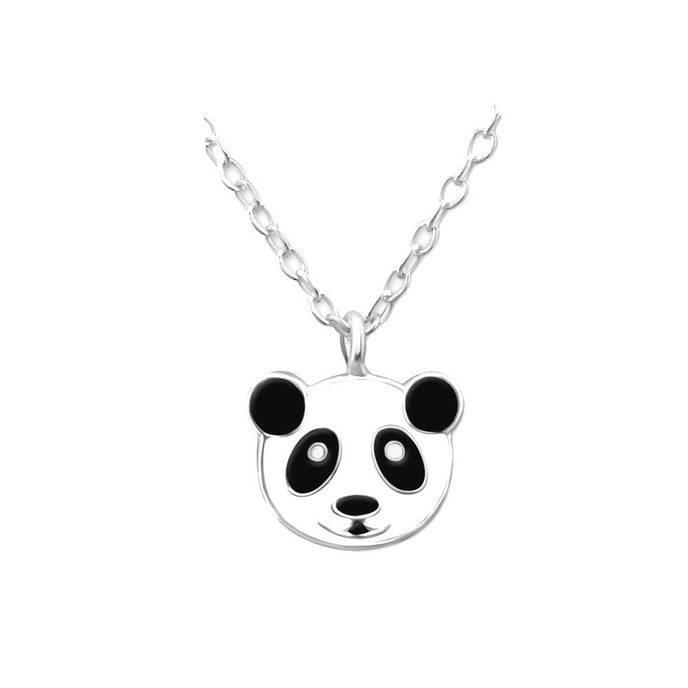 Collier Enfant en Argent 925//000 Rhodi/é et Epoxy Noir et Blanc Panda