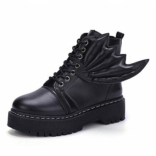 Boots Women's Flat Devil Belt Wings Martin Boots Boots , black , EUR 35.5