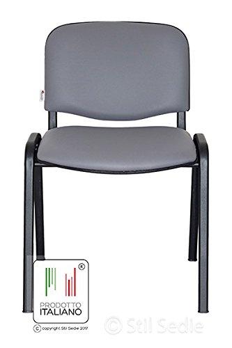 Sedute Attesa Ufficio.Stil Sedie Sedia Attesa Ufficio Sala Conferenze In Metallo E Ecopelle Made In Italy Grigio Scuro