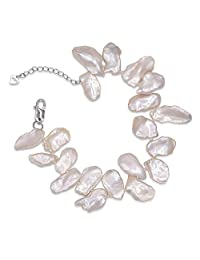 Cultured Pearl Bracelet for Women Free Form Freshwater Pearl Adjustable Size