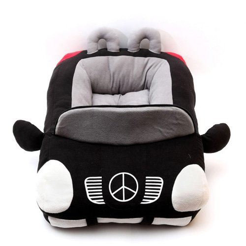 Huhushop Luxury Sports Car Design Pet Bed for Small Dogs + Pet Paw Bone Plush Toy (Black)