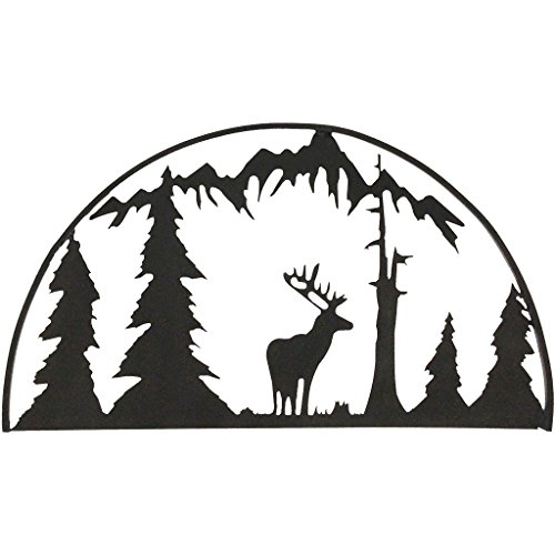 7055 Inc Rustic Elements Elk Hoop Metal Wall Art, Hammered Black