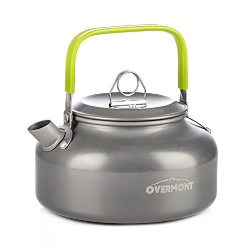 Enamelware Tea Kettle (Overmont Camping Kettle Camp Tea Kettle Camping Coffee Pot Aluminum Outdoor Hiking Kettle FDA Approved Camping Gear Portable Teapot Compact and Lightweight with Silicon Handle)