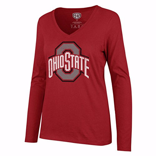 Hat Distressed Ohio (OTS NCAA Ohio State Buckeyes Women's Rival Long sleeve Distressed Tee, Large, Red)