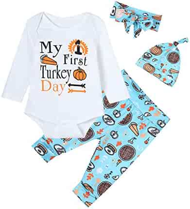 2bf026d2a2 4PCS Baby Boys Girls Outfit Set My First Turkey Day Long Sleeve Romper