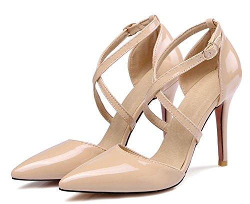 Easemax Womens Elegante Scarpe A Punta Tacco Alto Tacchi Alti Scarpe Albicocca