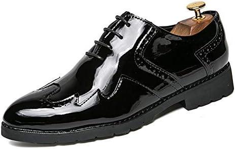 Xiaojuan-shoes, - Zapatos de Vestir para Hombre Oxford Wingtip Hechos a Mano de Cuero con Cordones, Piel sintética, Negro, 8,5 UK