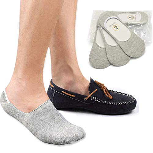 No Show Socks 8BESS GIFT Mens Socks Low Cut Non-Slip Grips Grey M 3 Pairs
