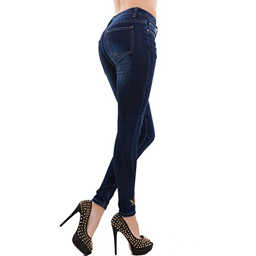 Donna Toocool Slim Pantaloni Nuovi Denim Fiori Aderenti Skinny Jeans Fit Blu 1 Zip Mf116 rrXqEw5vx
