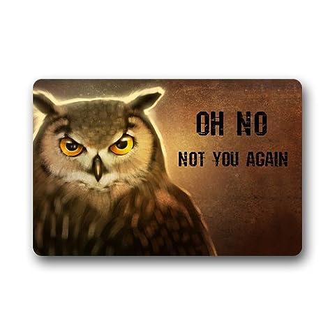 DailyLifeDepot Generic Machine Clean Top Fabric & Non-Slip Rubber Backing Durable Indoor / Outdoor Doormat Door Mats - Owl Says Oh No Not You Again Humor Gift (Humor Doormat)