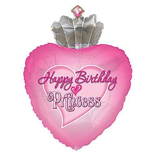 Multicolor CTI Balloons Foil Balloon 434164 Happy Birthday Princess Crown W//Gems Shape-a-loon 34
