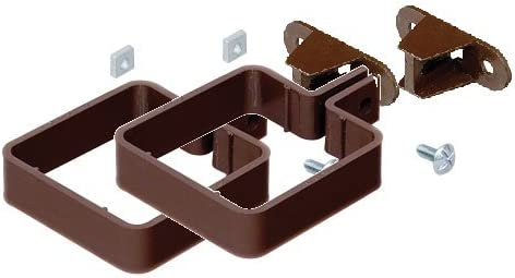 2 x Marley Square Guttering Pipe Clips RCE2br with Backplate and nut//bolt RCB300br for 65mm Square Downpipe BROWN