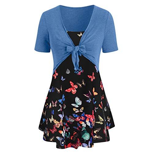 TnaIolral Women Sunflower Dresses Knot Bandage Top Print Vest Shirt Tank Blouse Tunic Suit (S, - Batting Official Blue Navy
