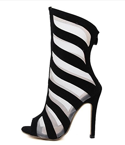 Heels Dance Stiletto Open Party Womens Mesh Black Ladise Sandals Toe Linyi High IXwqt
