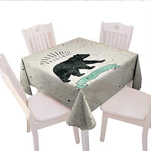 Home-textile-print Bear Printed Tablecloth Vintage Wildlife Label Hunting Theme Icon with Random Dots Predator Paws Flannel Tablecloth 36x36 (inch) Tan Black Mint Green (Label Flannel)