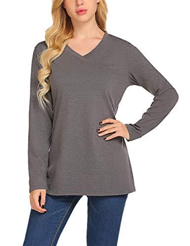 Qearal Women's Loose Solid Plain Shirts V Neck Long Sleeve Tees Petite(L, Dark ()