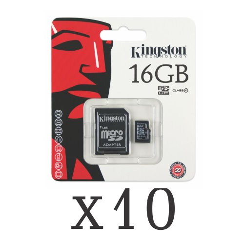 Kingston 16GB Class 10 Micro SDHC Memory Card SDC10/16GB (Pack of 10) by Kingston