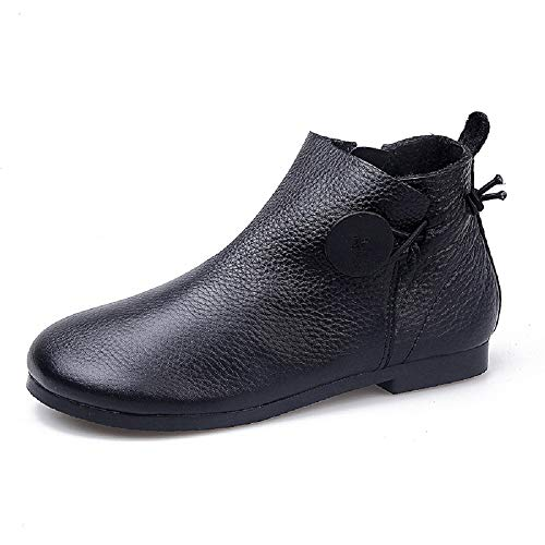 Black Boots Flat Gaslinyuan Shoes Soft Zipper 6 UK Color Button Leather Size Vintage Women 5 Tavaq1