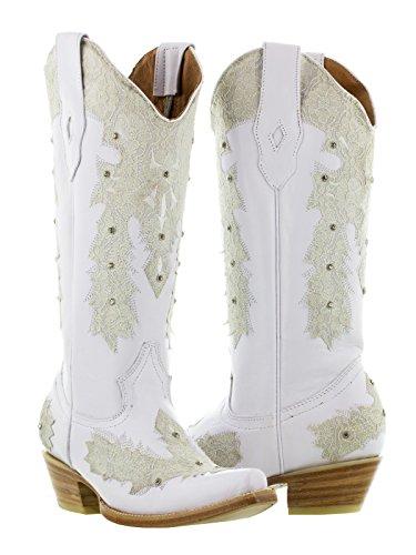 Texas Legacy - Women's White Novia Western Leather Rhinestone Cowgirl Boots Snip Toe 5.5 BM ()