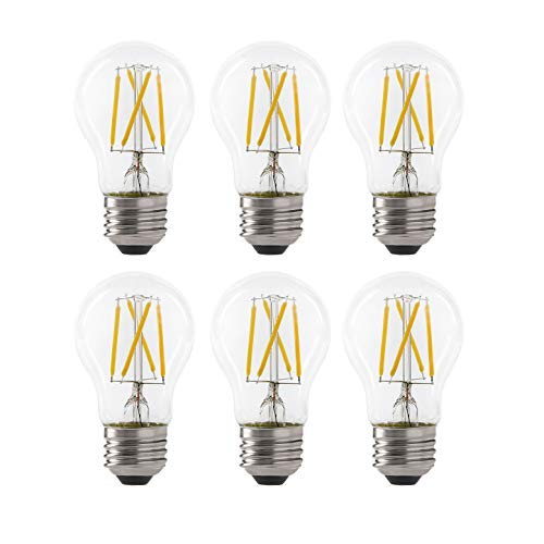 LED 5W A15 Filament Clear Light Bulb, 40W Equivalent, 450 Lumens, 2700K Soft White, Dimmable, E26 Medium Base, Energy Star Certified, 120V (6 Pack)