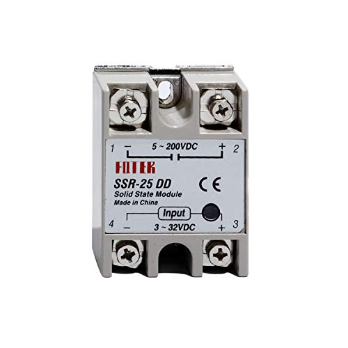 SSR-25DD 25A Solid State Relay DC to DC 3-32VDC Input/5-200VDC Output 2PCS