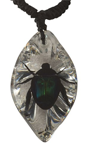 - Green Chafer Beetle on a Clear Faceted Jewel Pendant