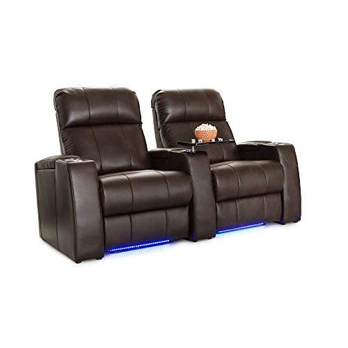 Seatcraft Sonoma Home Theater Seating Power Recline Leather Gel with Adjustable Powered Headrests (Brown, Row of 2) ()