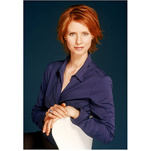 Sex and the City 8x10 Photo Cynthia Nixon Navy Blouse Black Skirt Looking Very Confident kn