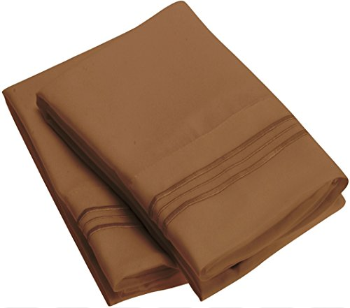 Harmony Linens Pillowcase Set - 1800 Double Brushed Microfiber Bedding - Deep Pocket, Hypoallergenic - Wrinkle, Fade, Stain Resistant Sheets (Set of 2 Standard Size, Mocha)