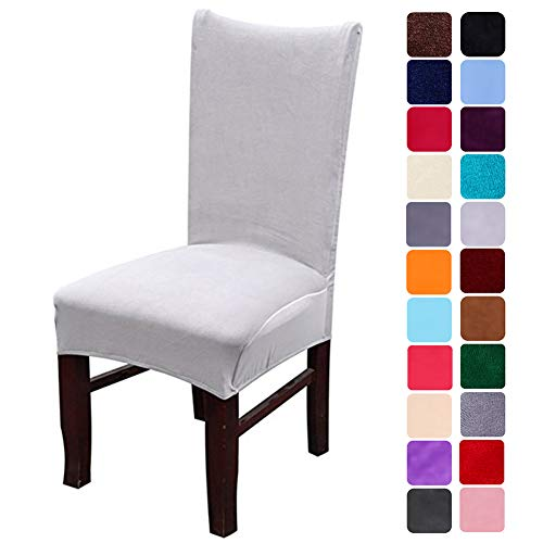 smiry Velvet Stretch Dining Room Chair Covers Soft Removable Dining Chair Slipcovers Set of 4, Light Grey (Velvet Chairs Room Dining Grey)