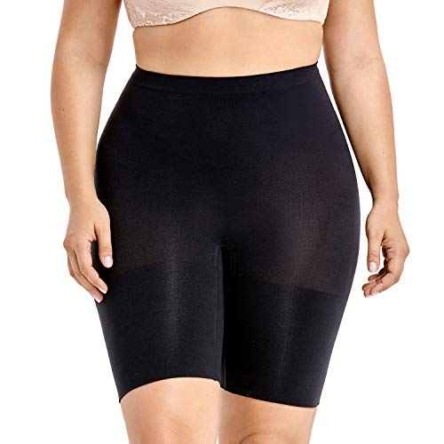 (DELIMIRA Women's Plus Size Tummy Control Panties Thigh Slimmer Shapewear Shorts Black 1X (18W-20W))