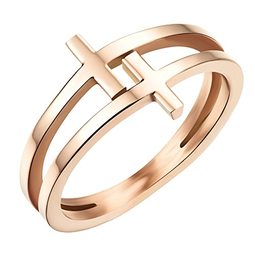 HIJONES Women's Stainless Steel Rose Gold Double Cross Christian Ring Engagement Wedding Band Size 6