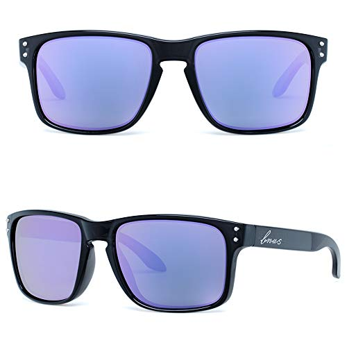 BNUS Italy made Classic Sunglasses for women Corning Real Glass Lens (Black/Polarized Lilac Mirrored, Polarized ()