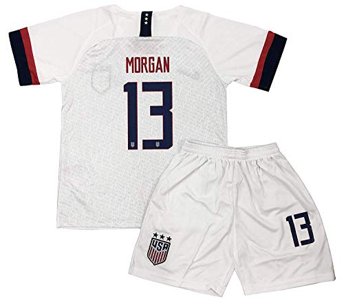 New 2019-2020 Alex Morgan #13 USA National Team Home Soccer Jersey Shorts for Kids/Youths Size 22 7-8 Years Old White (Kids World Cup Soccer Jersey)