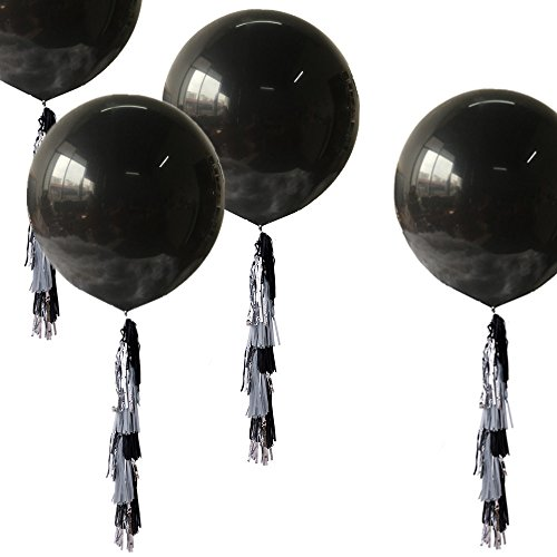 Fonder Mols 36'' Giant Black Balloons with Black Gray Metallic Silver Paper Tassels Graduation Party Hanging Decoration(Set of 34) by Fonder Mols