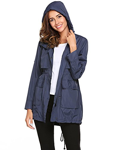 color Hoodie Sleeve Long Lightweight Solid Jackets Drawstring with Women Champlain Meaneor Raincoat wBqCPxanX5