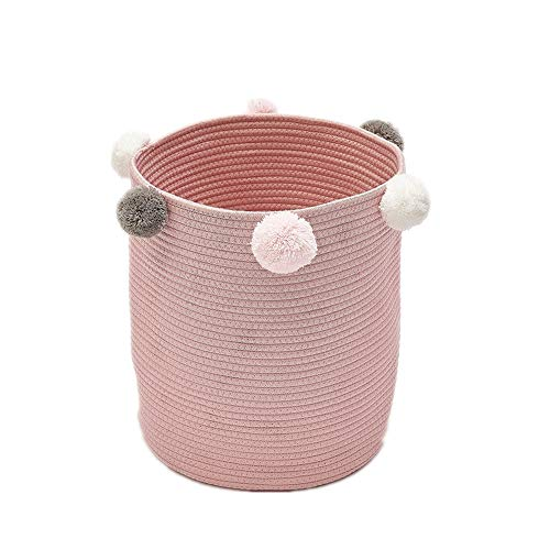 - cyclamen9 Laundry Basket, Multi-Function Foldable Cylindrical Plush Ball Storage Bins Home Organizer Dirty Clothes, Socks,Toy Storage More(Pink)