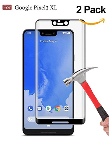 Google Pixel 3 XLScreen Protector, Wellci [ 2 Pack ] Full Coverage Tempered Glass Screen Protector for Google Pixel 3 XL (Black)