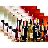Blissful Living Juego de 4 manteles Individuales, Resistentes al Calor, Decorar tu Mesa de Cocina con Nuestro Hermoso Mantel Individual Rectangular, Multi Wine Bottle Red