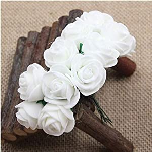 AKIMPE Artificial Fake Flower Faux Greenery DIY Decorations Forever Petals Long Stem Vine Preserved Gift for Wedding Party Home Birthday Garden Her Women 144 Pieces White 2