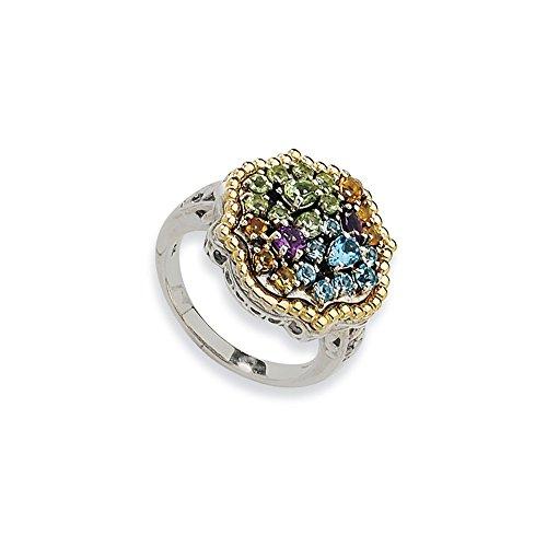 Tw Multi Gemstone Ring (Jewelry Best Seller Sterling Silver w/14k 1.43tw Multi Gemstone Ring)