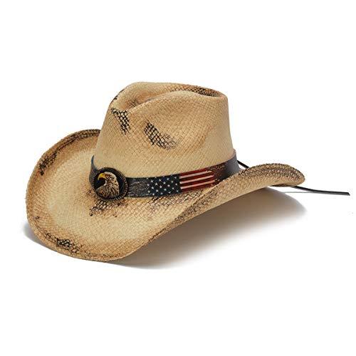 Stampede Hats Men's Patriot Vintage Eagle Western Hat XL Tea Stain