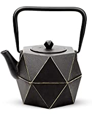 Tea Kettle, TOPTIER Japanese Cast Iron Teapot with Stainless Steel Infuser, Cast Iron Tea Kettle Stovetop Safe, Diamond Design Teapot Coated with Enameled Interior for 54 oz (1600 ml), Black