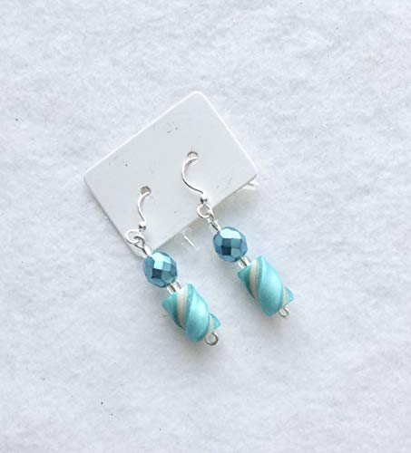 Soft Teal Pearl White Twist Bead Earrings French Hooks Handcrafted Polymer Clay Lightweight