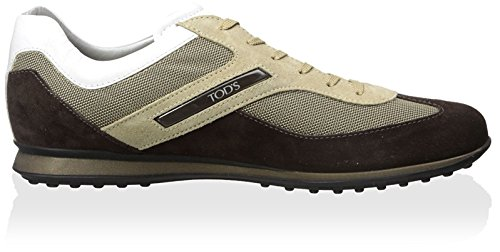 Tods Mens Mocka Och Canvas Gymnastiksko Brun / Tan