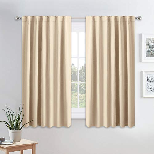 PONY DANCE Kitchen Window Curtains - Light Block Home Decor Back Tab and Rod Pocket Draperies Heavy Duty Thermal Insulated Curtain Panels, W 52 x L 45 inches, Biscotti Beige, 2 Pieces