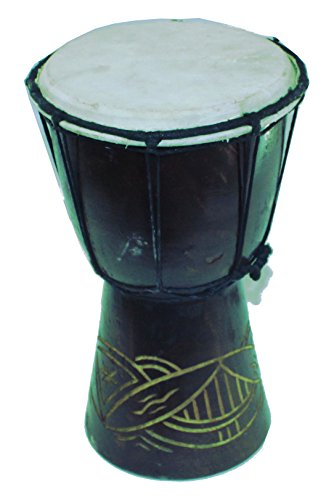 Djembe or Jembe Drum With nature and Animals carving from Jerusalem - Medium size ( 25 cm or 10 Inches high ) by Holy Land Market by Holy Land Market