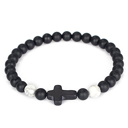 Eye Stone Cross (Dilusso Men Natural Matte Onyx Howlite Gemstones Cross Yoga Beaded Bracelet Boyfriend Gift)