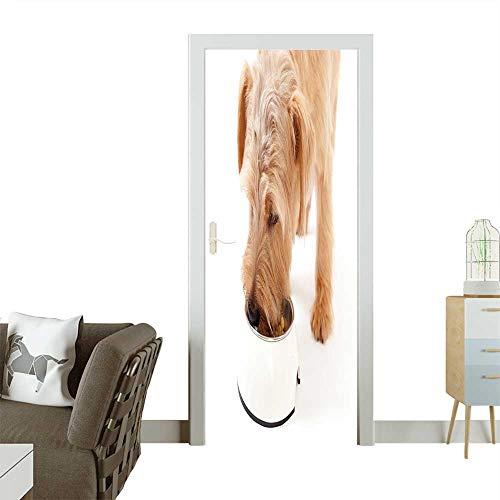 (Waterproof Decoration Door Decals Norfolk Terrier Dog Eating Food Perfect Ornament W30 x H80 INCH)