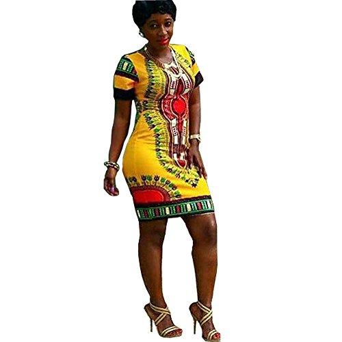 Women Traditional African Print Dashiki Bodycon Plus Size Short Sleeve Dress Yellow Medium